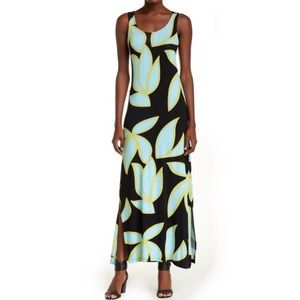 Christian Siriano leaf print maxi dress